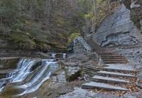 Devil's Kitchen Waterfall and Stone Steps by Michael Stephen Wills