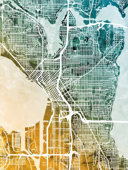 Contemporary Seattle Map Artwork For Sale on Fine Art Prints
