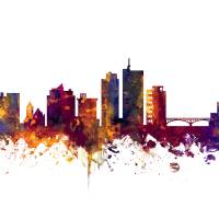 Cedar Rapids Iowa Skyline Art Prints & Posters by Michael Tompsett