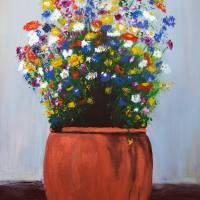 Impressionist Wildflower Garden Painting A103017 Art Prints & Posters by Martha Ann Sanchez