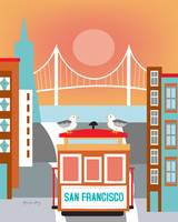 San Francisco, California - Seagulls on Trolley