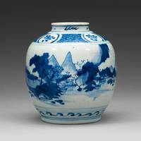 A BLUE AND WHITE JAR, MING DYNASTY