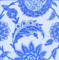 An Iznik blue and white pottery tile, Turkey, 17th