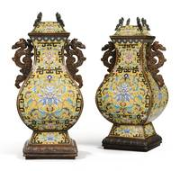 archaistic cloisonné enamel vases and covers China