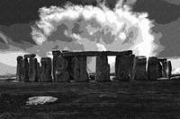Dotted Pencil Drawing of Stonehenge Monument by Ad