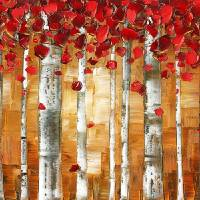 Red Birch Trees Landscape Art Prints & Posters by Susanna Shap