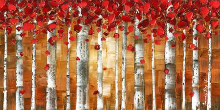 Red Birch Trees Landscape