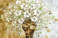 White Blossoms Contemporary Bouquet Art