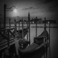VENICE Gondolas during Blue Hour in black and whit