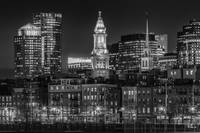 BOSTON Evening Skyline of North End | Monochrome