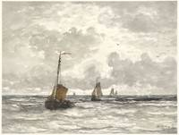 Fishing Boats on the Breakers, Hendrik Willem Mesd
