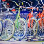 Rainbow Bicycles in a Row by RD Riccoboni