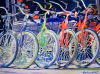 Rainbow Bicycles in a Row