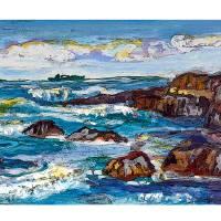 DNG Rocky Seascape Coast w border Art Prints & Posters by David Noah Giles