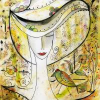 A Beautiful Lady with a bird Art Prints & Posters by Catalina Lira