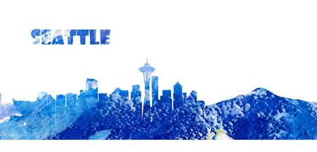 Seattle Skyline in Clean Scissor Cut Style