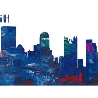 Pittsburgh Skyline in Clean Scissor Cut Style Art Prints & Posters by M Bleichner