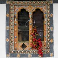 Bhutanese Window with Peppers Art Prints & Posters by Betty Sederquist
