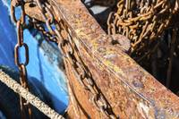 Rusty chains fishing trawlers deck