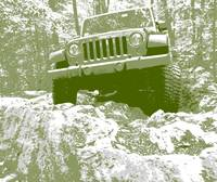 Green Jeep JK Rock Ledge
