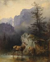 Friedrich Gauermann,  Red Deer at the Watering Hol