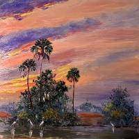 Florida Sunset Glowing Art Prints & Posters by Mazz Original Paintings