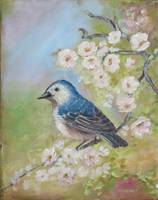 Bird Painting with Blossoms: Lucy's Warbler