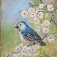 Bird Painting with Blossoms: Lucy's Warbler Art Prints & Posters by Velvet Tetrault