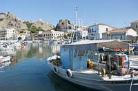 Fishing boats harbour Myrina Limnos/ Lemnos Greek
