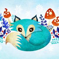 Winter Fox Art Prints & Posters by SANDRA VARGAS