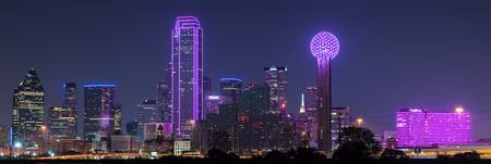 Dallas Skyline in Pink Panorama 2