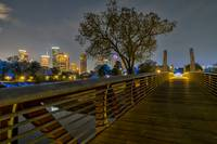 Houston Skyline and Carruth Pedestrian Bridge