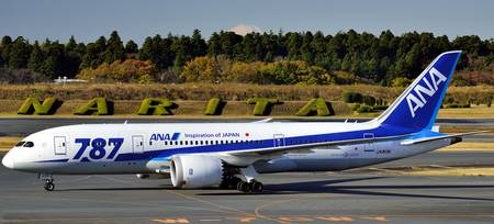 ANA's B-787-8, JA813A Narita And Mount Fuji Behind