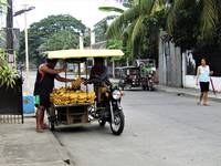 Street vendor selling bananas from a tricyle