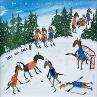Horse Hockey Winter Scene
