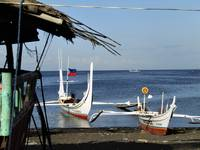 Filipino fishing boats on Lemery beach, Batangas