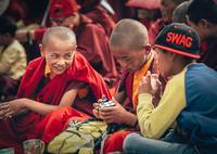 Little monks listening to the Dalai Lama's 14th se