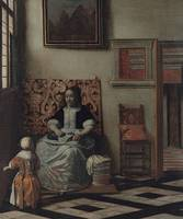 Interior with a Woman sewing and a Child ca. 1662