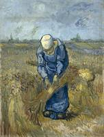 Peasant Woman Binding Sheaves at Wheat Fields (Van