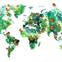 Butterfly Effect Green World Map Watercolor Art Prints & Posters by Irina Sztukowski