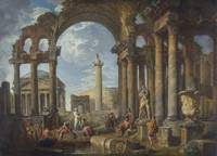 A Capriccio of Roman Ruins with the Pantheon by Gi