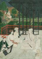 A MOGHUL GOUACHE OF A SEATED PARTY LISTENING TO MU