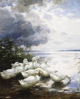 Ducks at the Lake's Edge by Alexander Max Koester