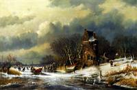 Andreas Schelfhout Dutch landscape with figures