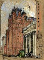 Vintage Illustration Historic Buildings NYC