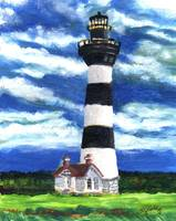 Lighthouse and Striped Sky
