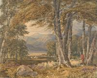 Landscape through trees, by George Barret