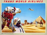 Vintage Airline Egypt Camel and Pyramids