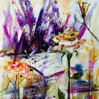 Amethyst and Yellow Rose 07 Dec 15 2017 B Art Prints & Posters by Ginette Callaway