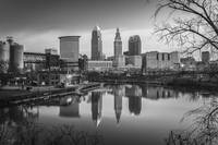 Cleveland Skyline Reflection B&W by Cody York_2873